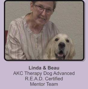 Linda & Beau AKC Therapy Dog Advanced R.E.A.D. Certified Mentor Team