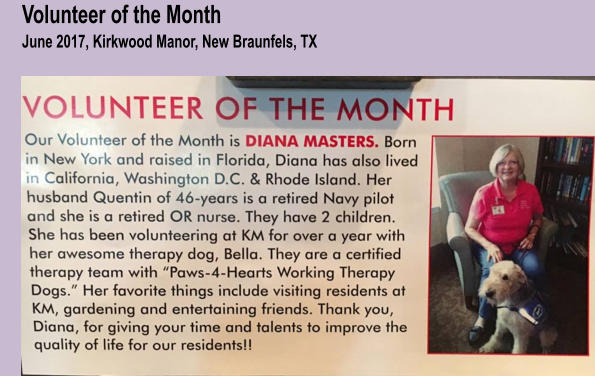 Volunteer of the MonthJune 2017, Kirkwood Manor, New Braunfels, TX